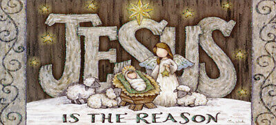 Jesus is the Reason Tina Wenke Box of 14 Long Glitter Religious Christmas Cards