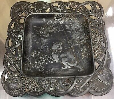 BEAUTIFUL ANTIQUE JAPANESE ART NOUVEAU Pin Tray Flora & Fauna: Wild Tiger/Nature