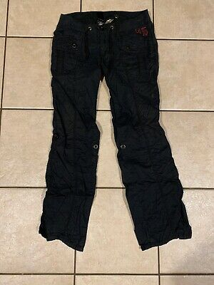Womens HARLEY DAVIDSON Black Cotton Pants Motorcycle Bootcut sz 4 - 30 x 32