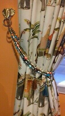 "30"" Beaded Curtain Tie Back Pair 2 Handmade Balinese Beads Various Colours"