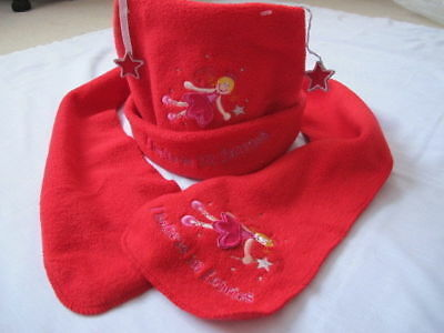 3-6 years Girl Fairy Scraf + Hat Red Soft Fleece Party Christmas Mint set