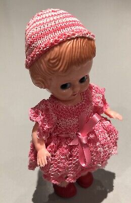 Vintage Evergreen Hard Plastic Doll 15cm Moulded Hair Hand Knitted Clothes