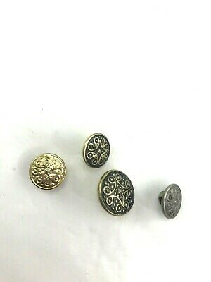 Lot 4 patterned metal shank buttons craft sewing