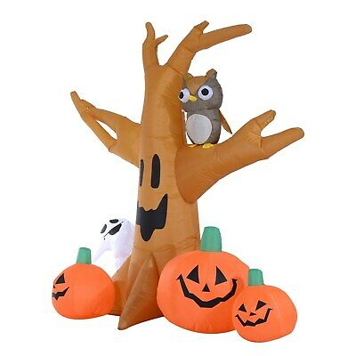 7.5' Lighted Inflatable Outdoor Halloween Haunted Tree Owl Ghost Pumpkins Decor