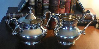 Vintage MFD & Plated Reed & Barton silver plated Large Cream & Sugar winged hors
