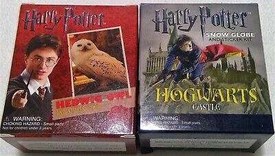 Harry Potter Hedwig Owl Kit Sticker Book Miniature snow globe Hogwarts castle