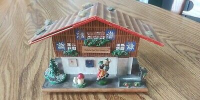 Antique German Black Forest Chalet Swiss Music - Savings Bank