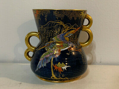 Vintage English Carlton Ware Cobalt Blue King Fisher Bird Double Handled Vase