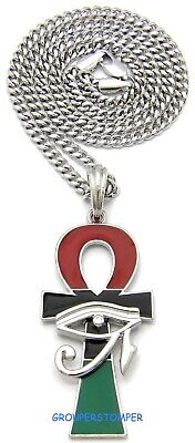 Eye Of Horus On Ankh New Egyptian African Pendant With 24 Inch Long Necklace
