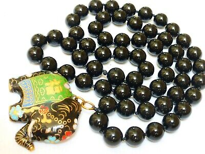 Vintage Chinese Onyx Beads Necklace with Cloisonne Pendant, No clasp