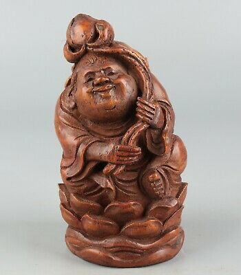 Chinese Exquisite Hand-carved people lotus Carving bamboo statue