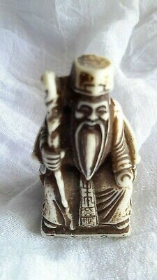 "Chinese Wise Old Man Asian Vintage Resin Figurine Statue 2"" Ming Dynasty Style"