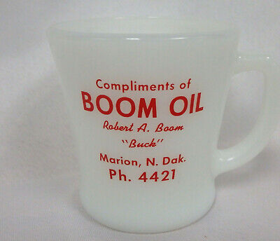 Vintage advertising Fire King coffee cup Boom Oil Marion North Dakota phone 4421