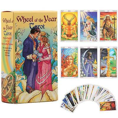 Wheel of the Year Tarot Card Game Deck Cards Future Telling Game in 4 Language
