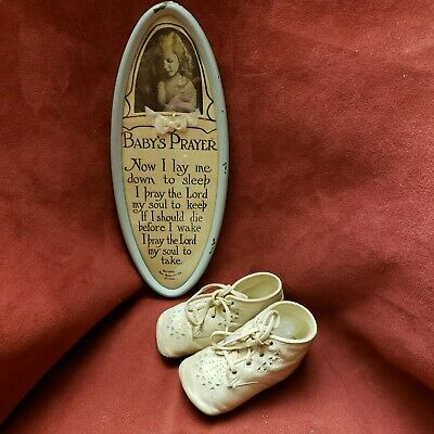 Antique Pair White Leather Baby Shoe Lace Up, plus Baby's Prayer by National Art