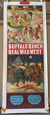 Buffalo Ranch Wild West Circus Poster - Indians Original Riverside Stone Litho