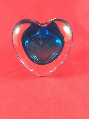 Cobalt Blue/Clear Heart Glass Paperweight W/hole for pen or single stem flower