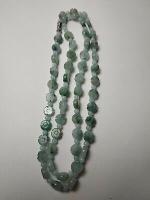 Grade A 100% Natural Genuine Burma Jadeite Jade Beaded Necklace Four Leaf clover