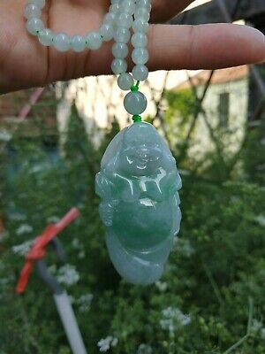 Grade A 100% Natural Burma Jadeite Jade Buddha Pendant Necklace Perfect Best A#8