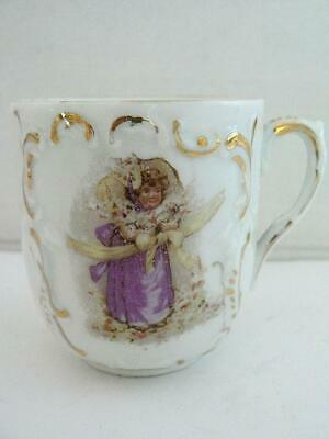 Vintage Demitasse Tea Coffee Cup Girl With Cat Yellow Ribbon