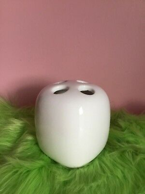 White Ceramic Toothbrush Four Hole Holder Accessory Stand EUC