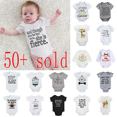 Newborn Infant Baby Boy Girl Cotton Romper Bodysuit Jumpsuit Clothes Outfit Lot