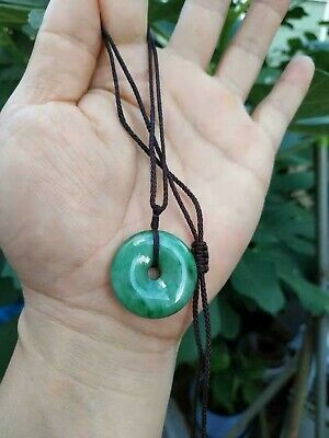 100% Natural Burmese Jadeite Jade Circle Donut Pendant Necklace Safe buckle A#01