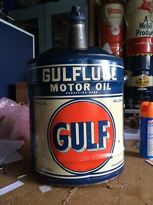 Vintage Gulf Gulflube Motor Oil Can