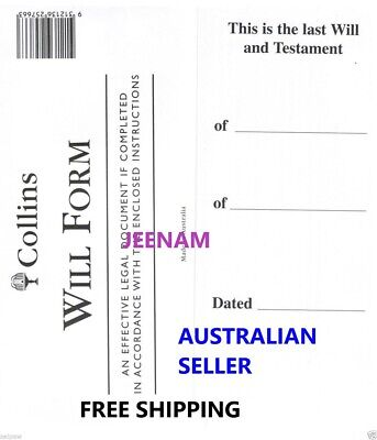Collins Australian DIY Will Kit (Includes 1 Form) + instructions + FREE SHIPPING