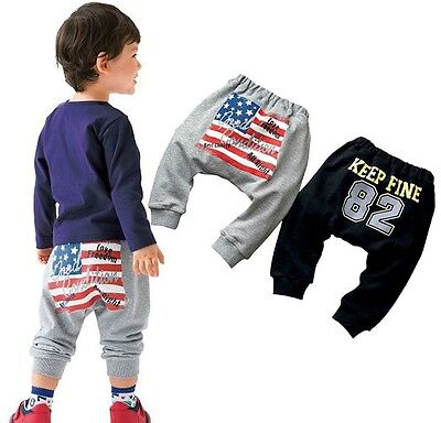 Boys Girls Kids Toddler Joggers Track Leisure Sport Trousers Casual Harem Pants