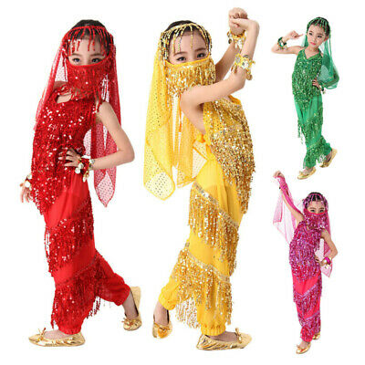Kids Girls Belly Dance Costumes Indian Bollywood Dancing Party Outfit Top Pants