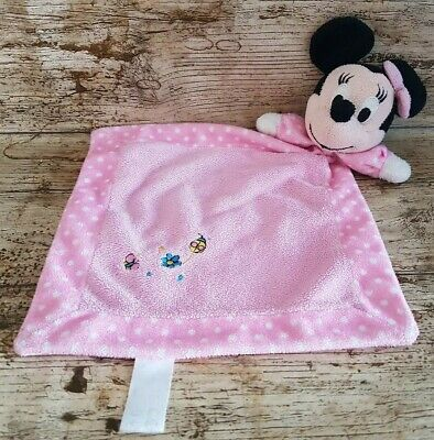 Disney Minnie Mouse Embroidered Baby Comforter Pink Blankie VGC