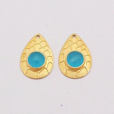 Wonderful Connector Pair Women Earring Jewelry Gemstone Gold Plated Chalcedony