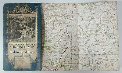 1933 old vintage OS Ordnance Survey one-inch Fifth Edition map 127 Bideford Bude