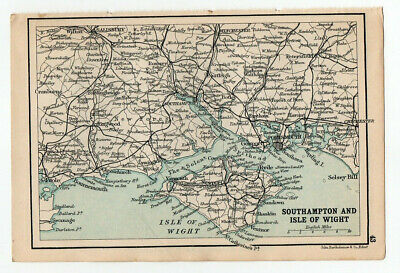 1909 Map Of Southampton & Isle Of Wight Old Antique