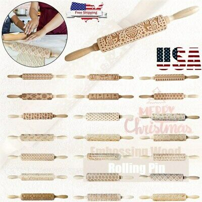 Christmas Wooden Embossing Rolling Pin Dough Engraved Roller DIY Baking Cookies