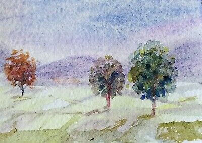 original watercolor painting ACEO Tuscan rural landscape  trees maple sky SIBY