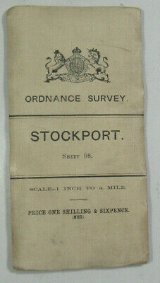 1903 Old OS Ordnance Survey Third Edition One-Inch Map Small Sheet 98 Stockport
