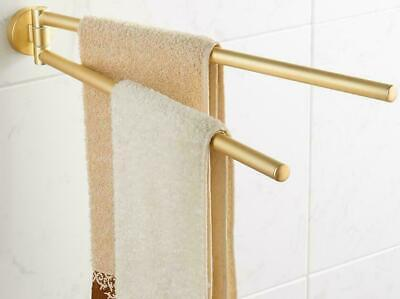New Bathroom Brushed Gold SUS304 Towel Rack Holder Swivel Rail Bar Wall Hanger
