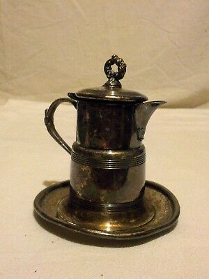 Antique Marion Plate Co. Quadruple plate Ornate Syrup Pitcher Server w/Tray