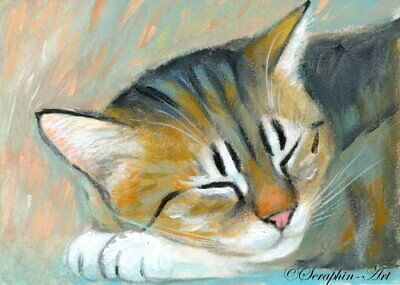Sleeping Cat Original ACEO Acrylic Painting Catnap Tabby Kitten Seraphin-Art