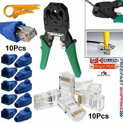 RJ11 RJ45 Network Ethernet Cat5 Cat6 Cable Crimping Tool Stripper Boot Connector