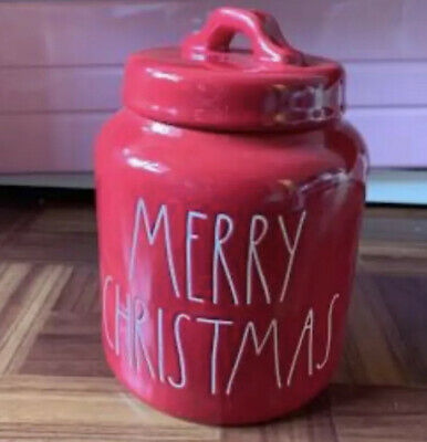 New Rae Dunn 2019 Merry Christmas Canister Red White Large Letter By Magenta