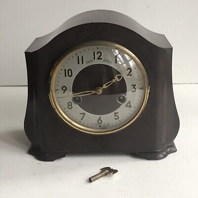 1930's Antique Smiths Enfield Mantel Clock Bakelite Brass Working No Pendulum