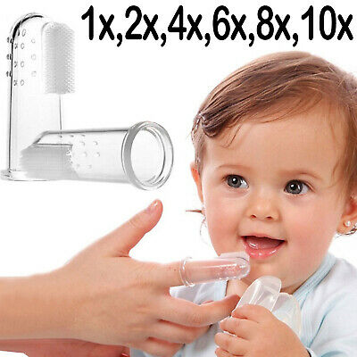 New born Soft Silicon Baby Finger Toothbrush Teether Infant toddler Gum Massages