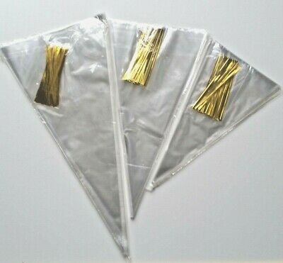 50 Clear OPP Cone Bags Sweets Lollies Birthday Party Wedding Favours