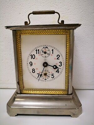 Vintage Antique Junghans Mantel Carriage Alarm Clock In Good Working Order