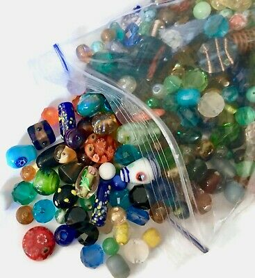 Large 1 Pound Lot of Glass & Ceramic Beads Nice Quality Faceted, Lampwork, Czech