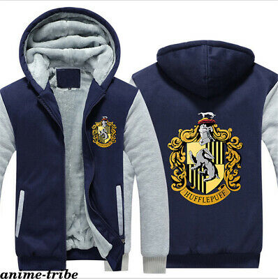 Harry Potter Hufflepuff Thick Hoodie Zip Sweatshirt Boys Jacket Warm Sweater