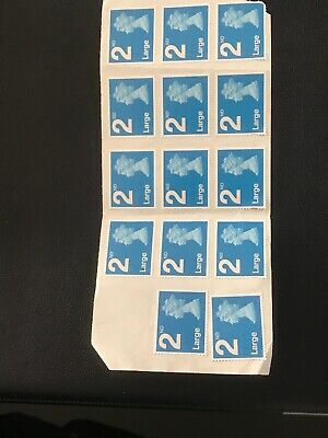 14 2nd Class Large Unfranked Security Stamps Self Adhesive Easy Peel